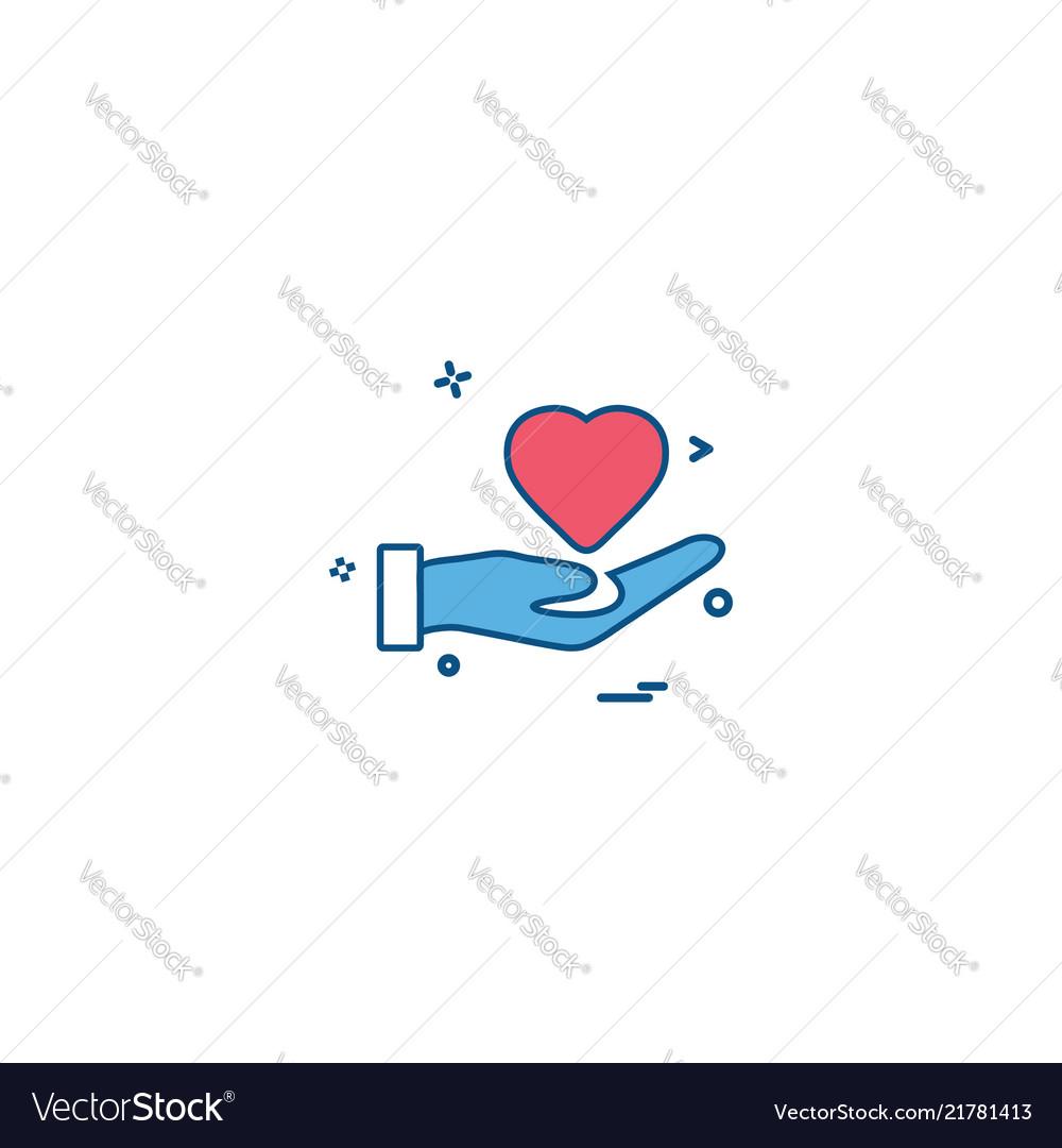 Hand heart medical heart center icon desige