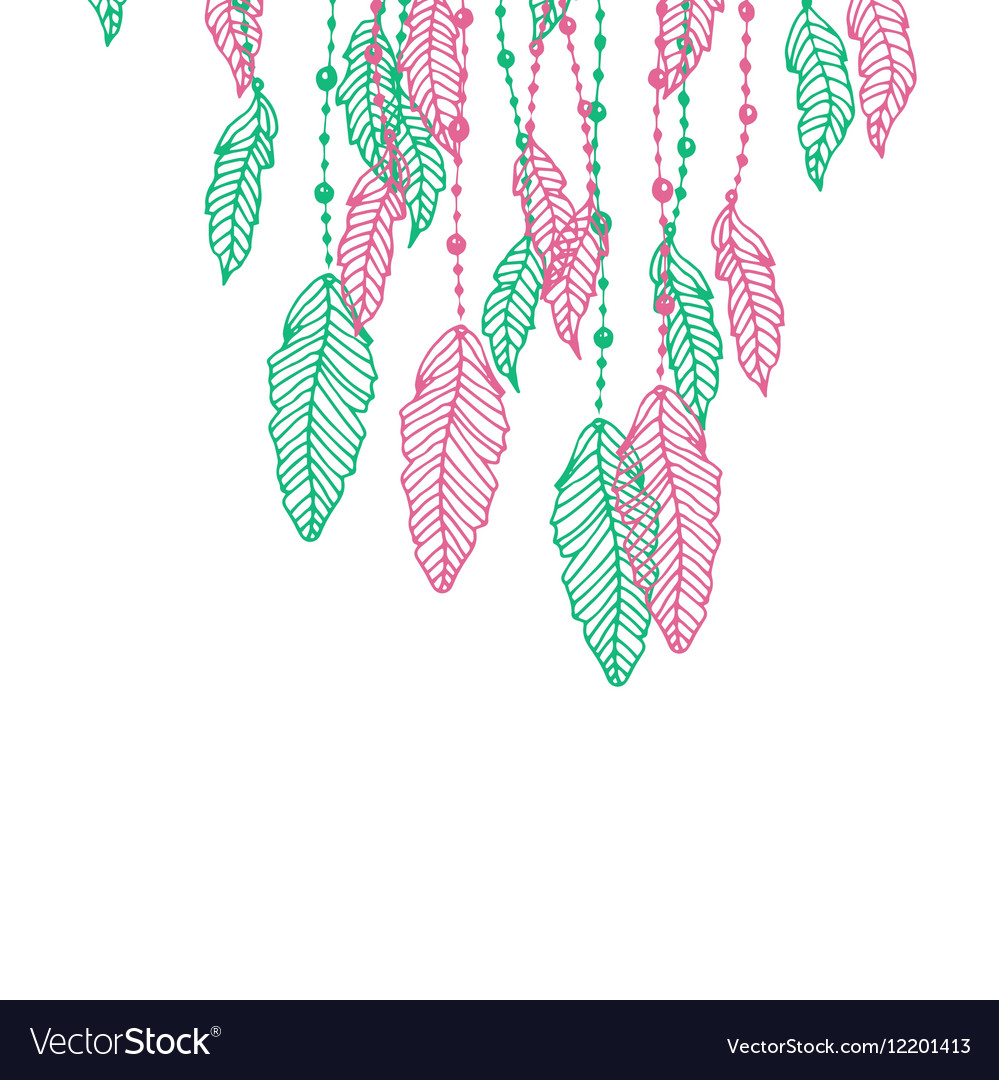 Hanging pink and turquoise or blue stylized doodle