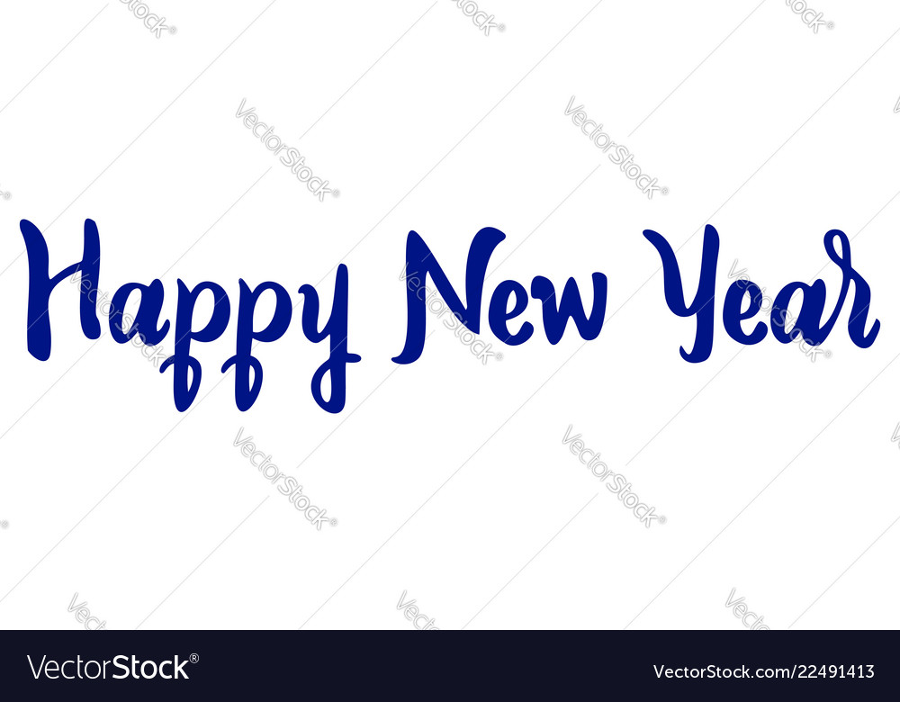 Happy new year text lettering white background