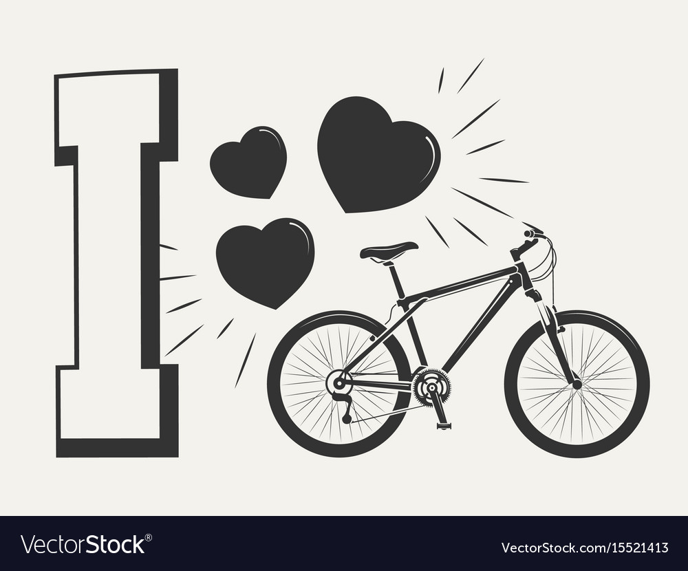 I Love Bicycle Print Design Print With Bicycle Vector Image