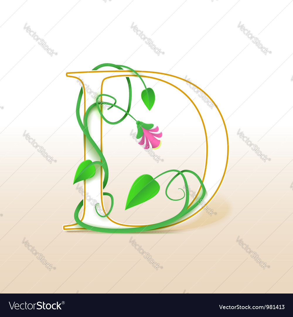 Letter D with an vintage floral pattern