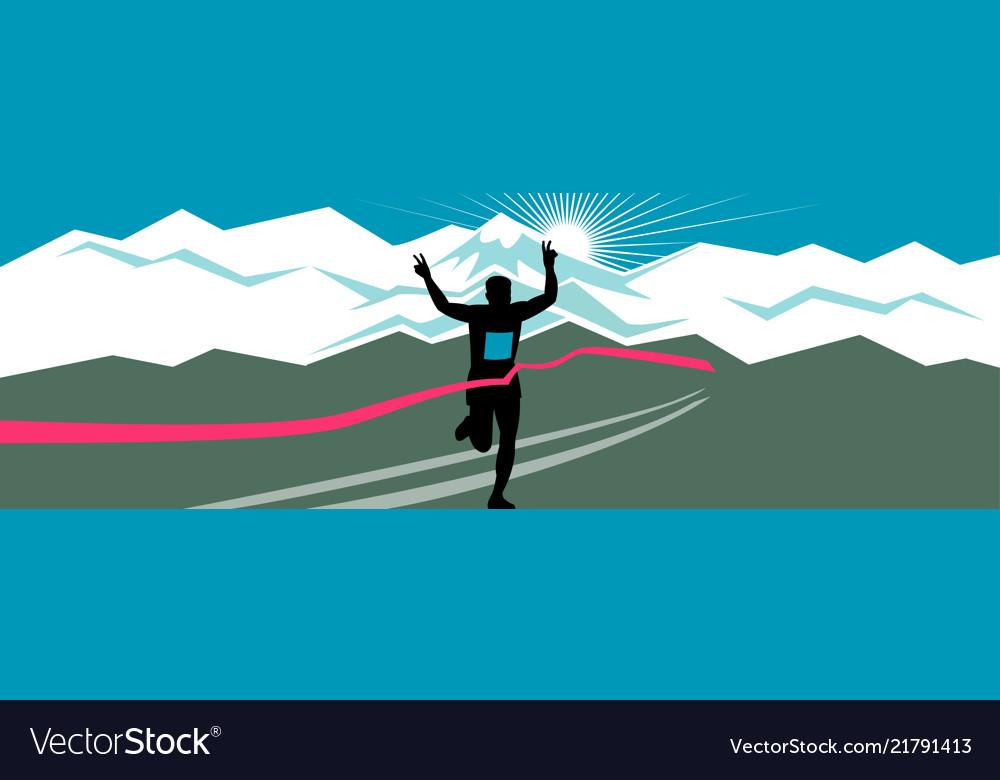Marathon runner finishing wide format