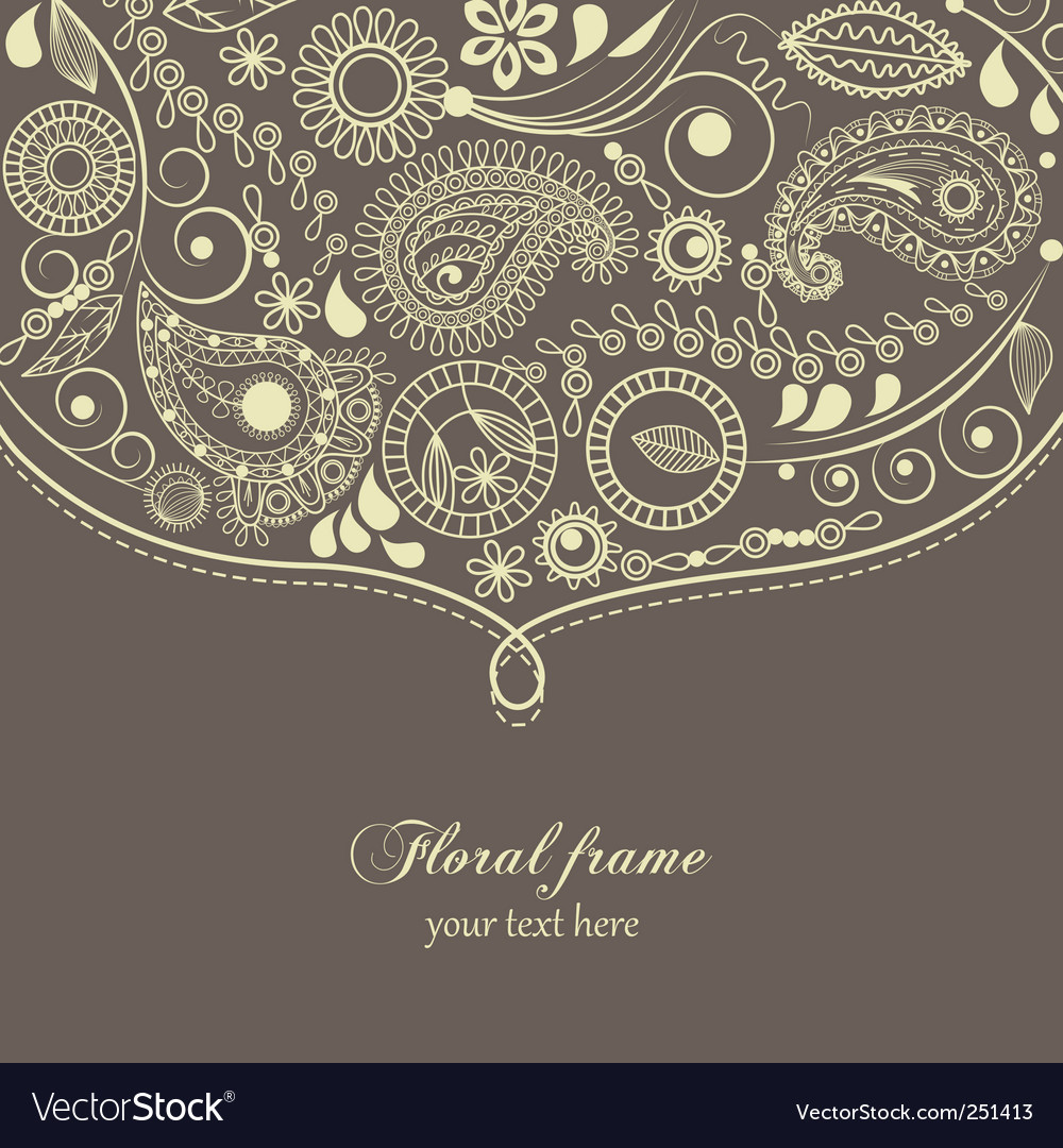 Paisley floral frame vector image