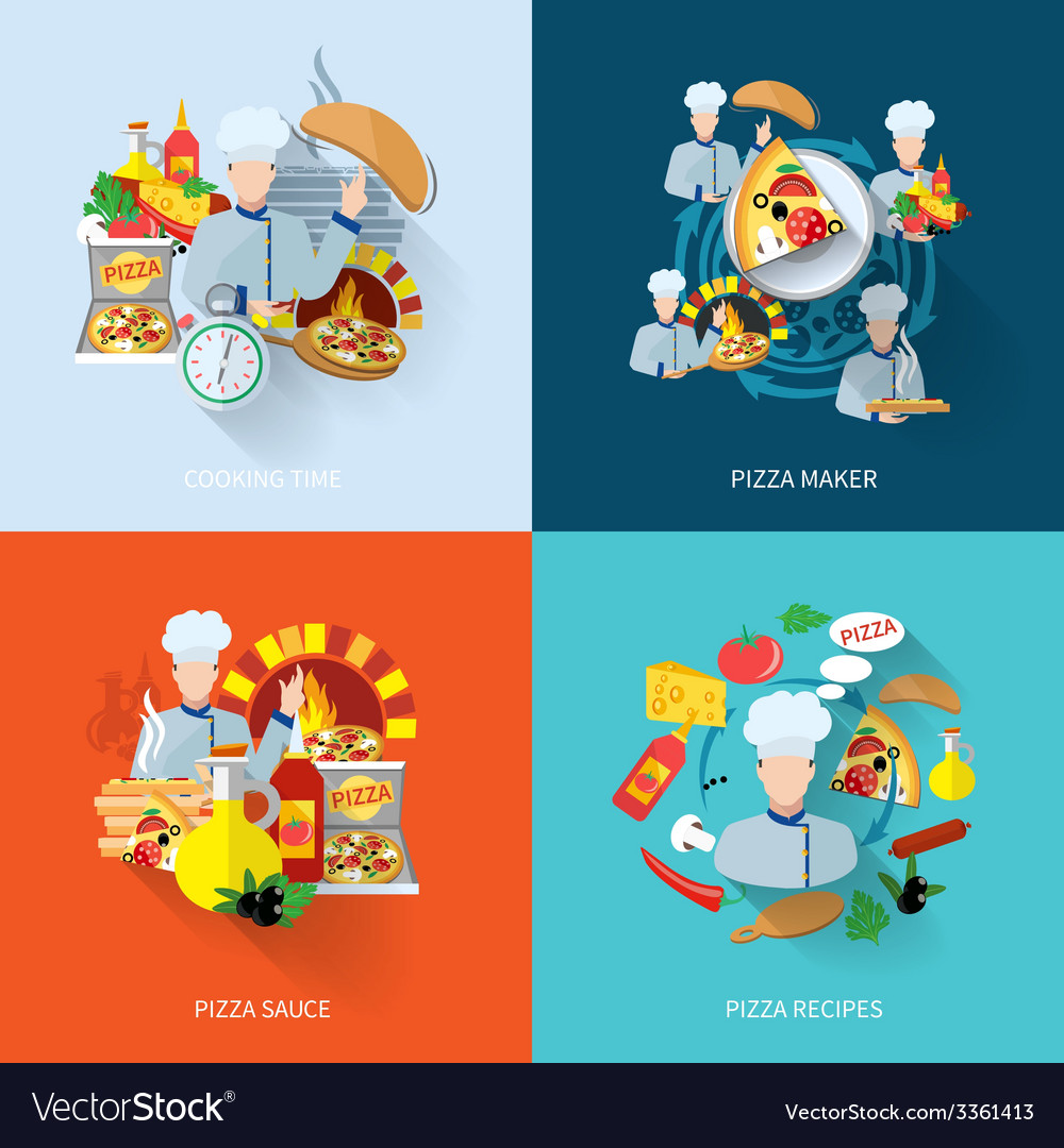 Pizza maker flat set vector image