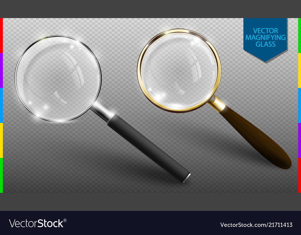 Realistic magnifying glass set on
