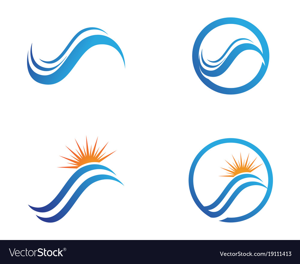 River and sun symbols logo template icons Vector Image