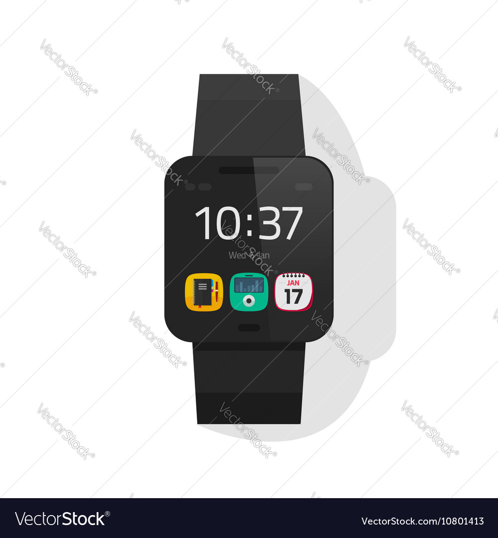 Smart watch black digital hand clock vector image