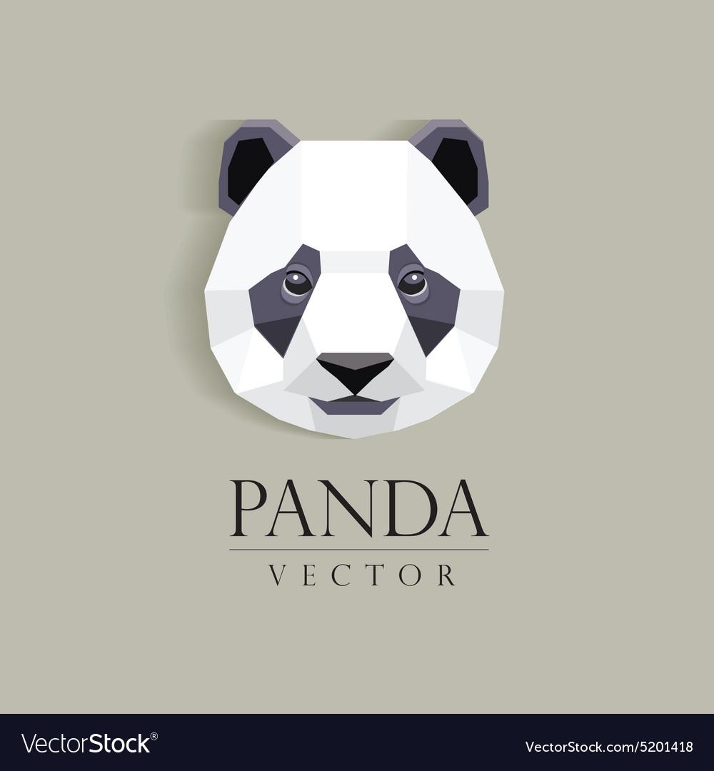 3d Origami Low Polygon Panda Bear Vector Image