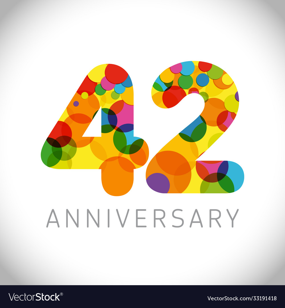 42 years anniversary circle colorful logo