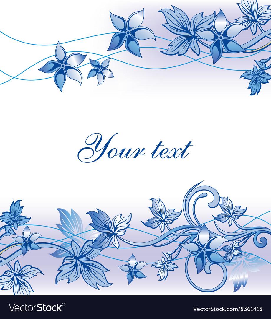 Blue Floral Frame Royalty Free Vector Image Vectorstock