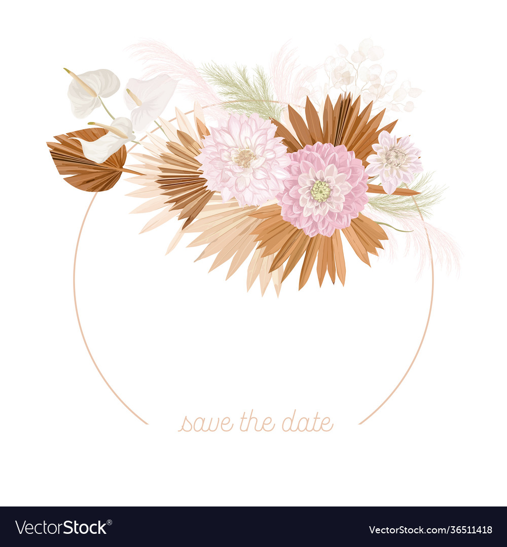 Boho floral wedding frame watercolor