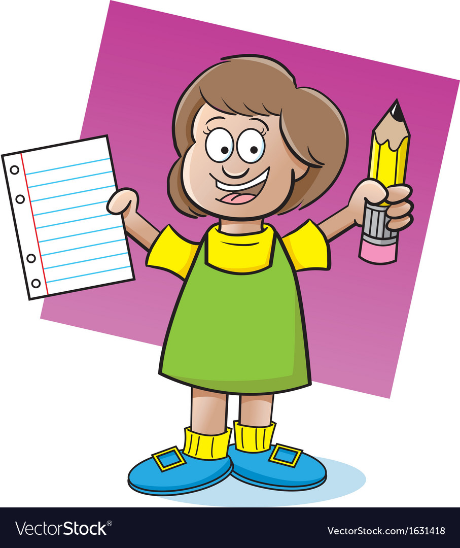 Cartoon Girl Holding a Paper and Pencil vector image