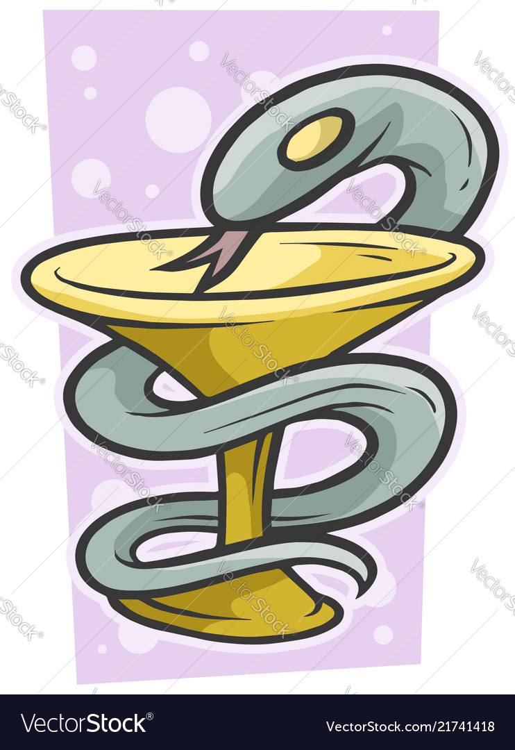 Cartoon medical snake with bowl or cup icon