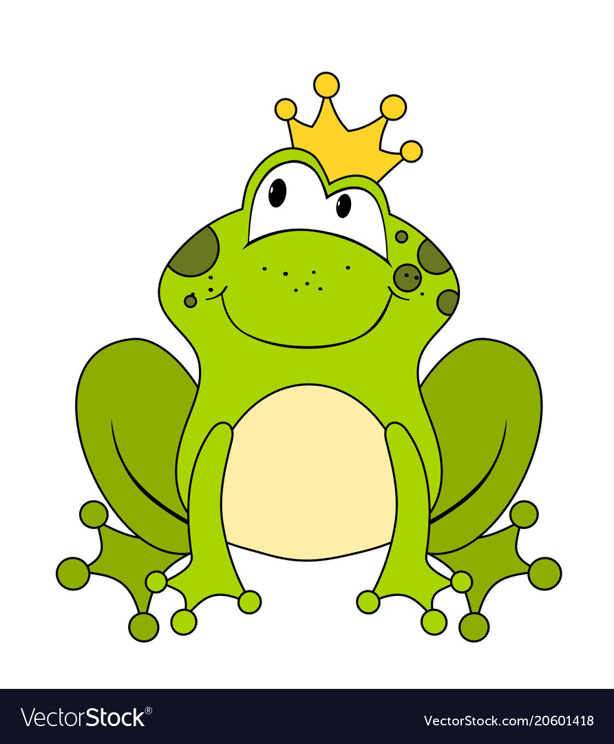 Cute Cartoon Frog Princess Or Prince Isolated On Vector Image