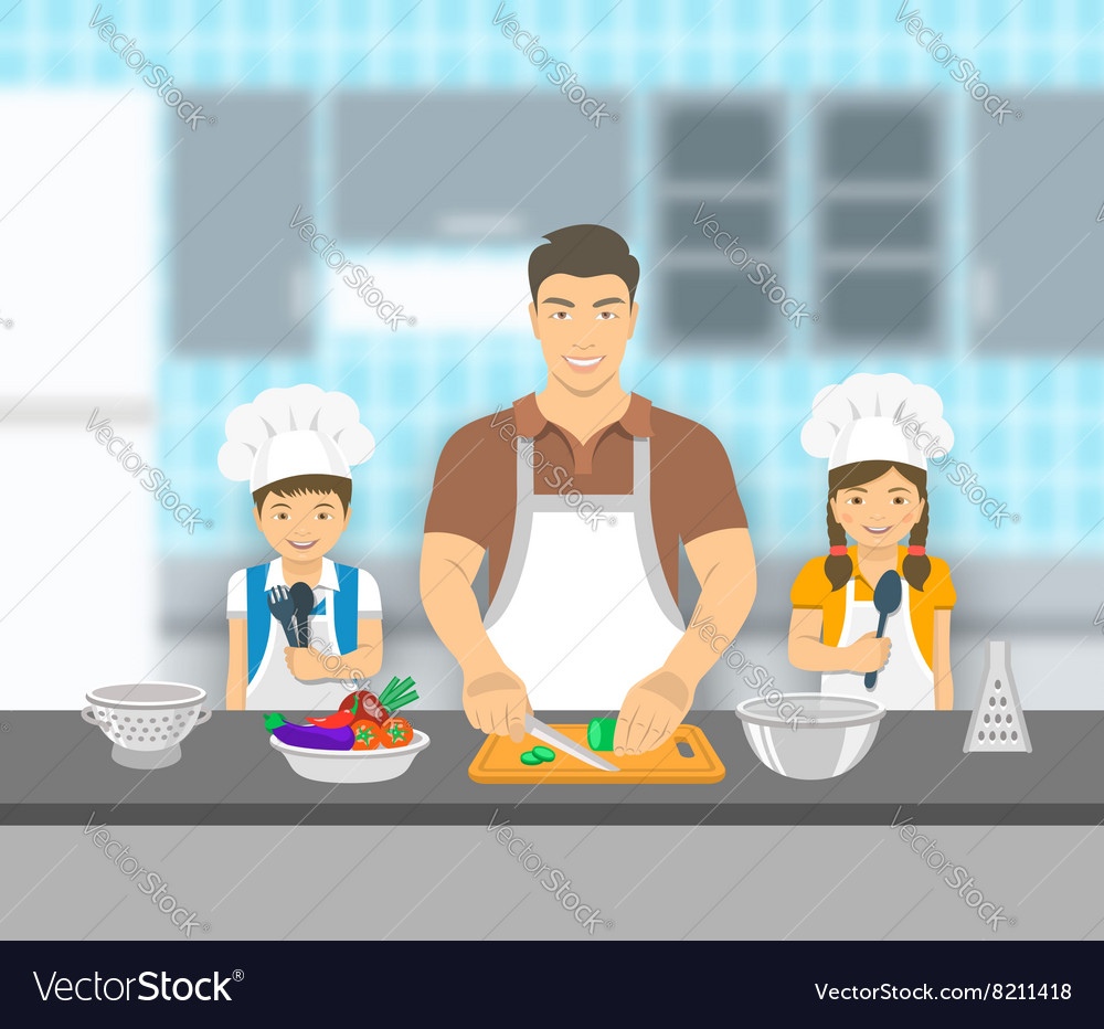 Father and kids cooking together at kitchen flat Vector Image