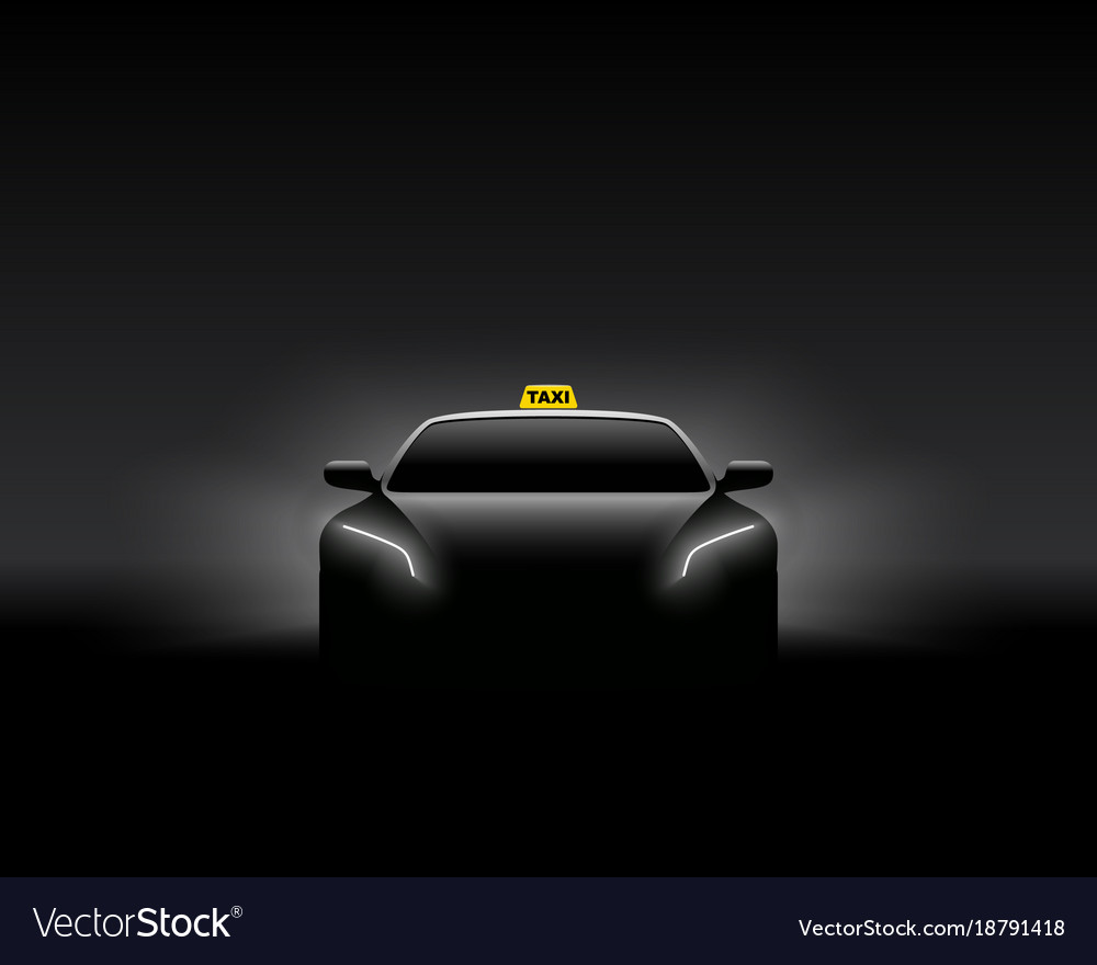 Front view dark taxi car silhouette