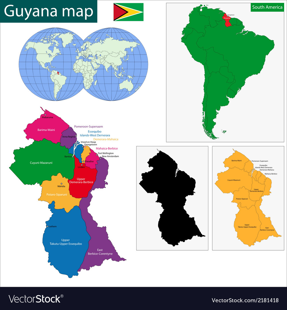 Where Is Guyana Located On The World Map.Guyana Map Royalty Free Vector Image Vectorstock