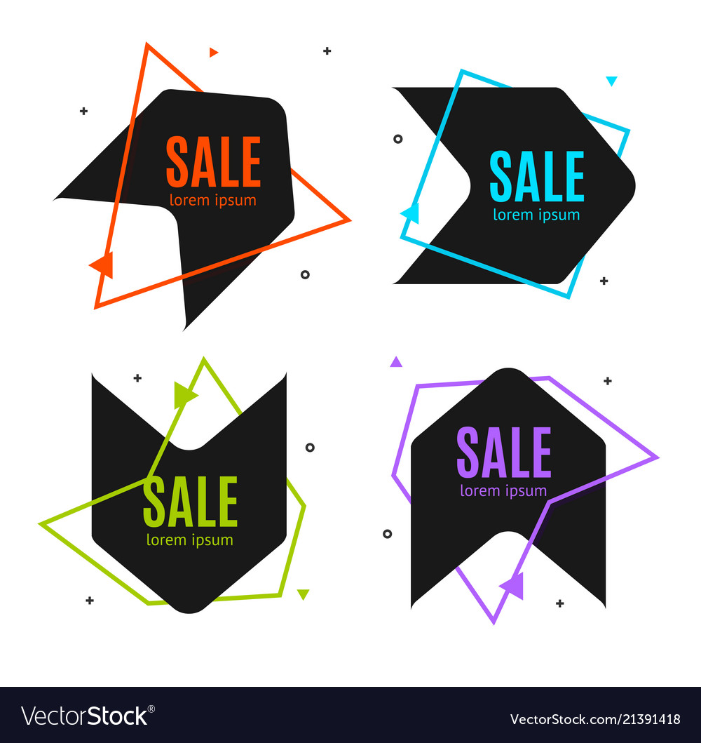 Sale banner abstract advertising design set