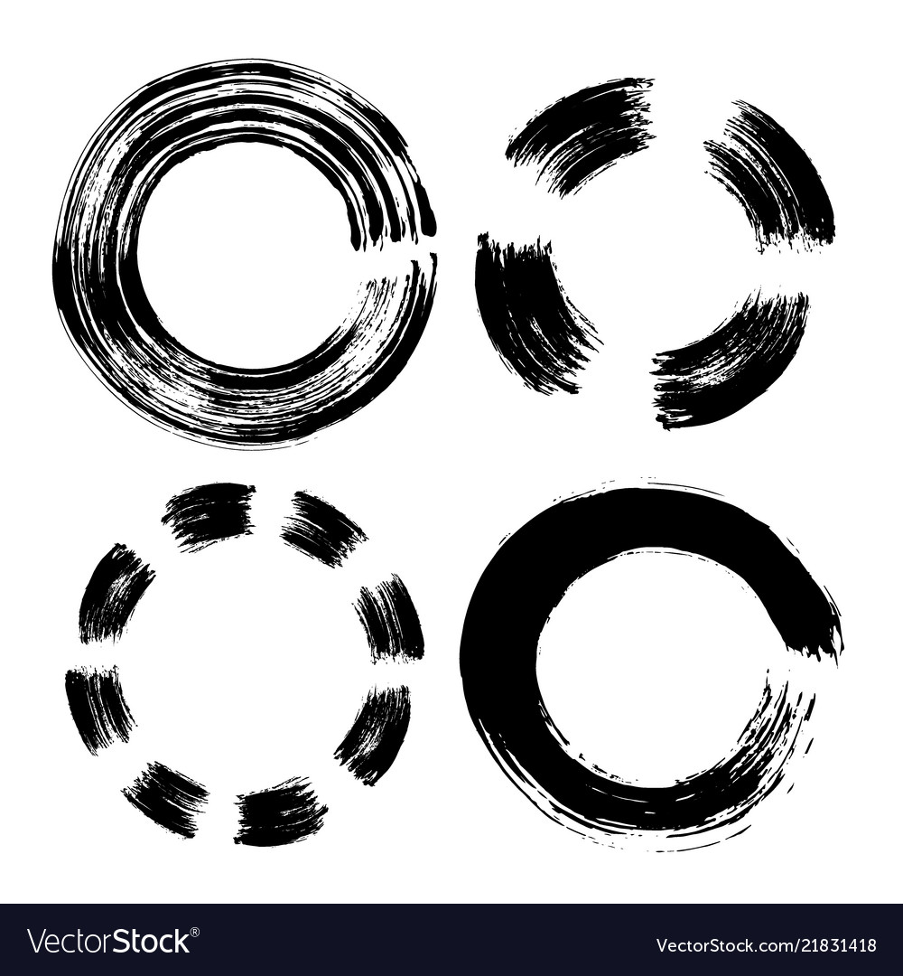 Set of hand drawn circle black doodles scribble