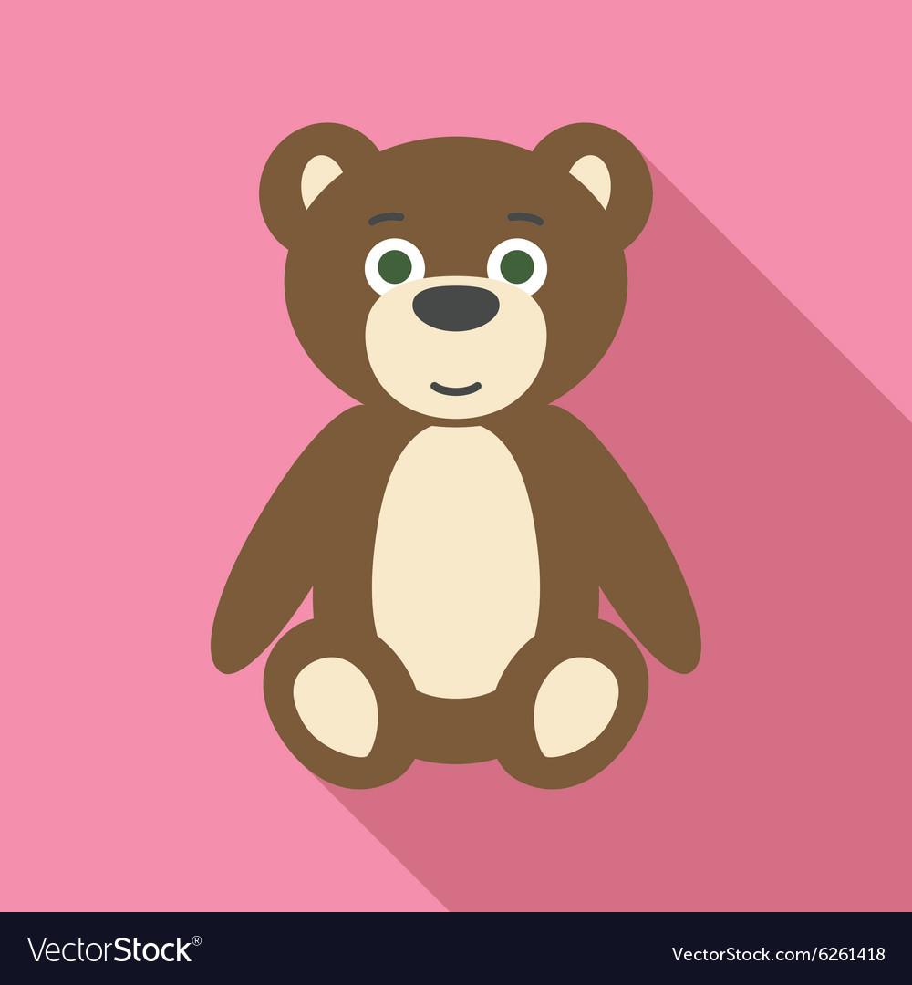 Teddy Bear in Flat Style with Long Shadows