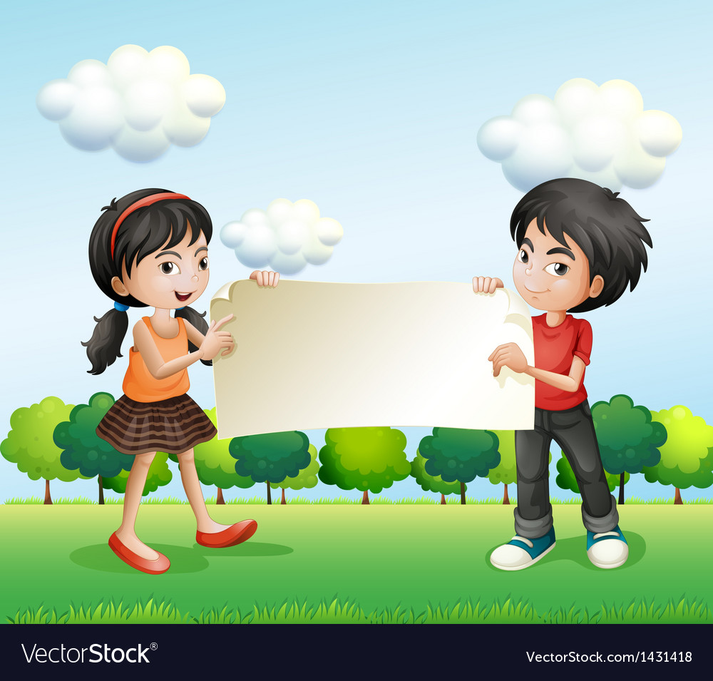 Teenagers holding an empty signage vector image