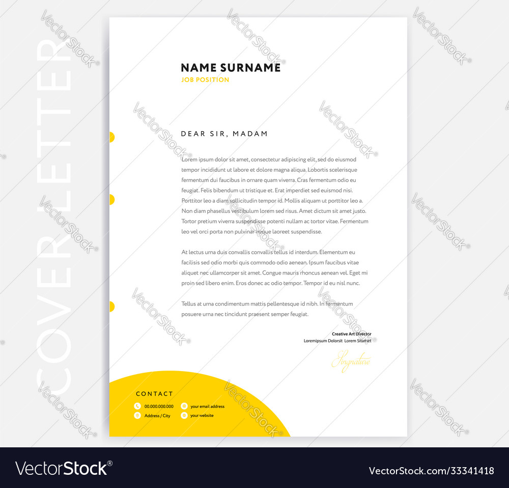 Yellow Cv Cover Letter Template Design Royalty Free Vector