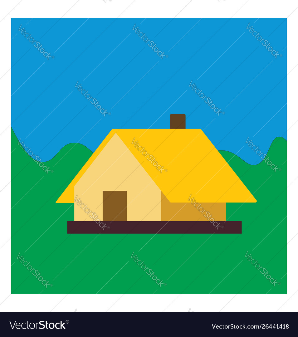 Yellow house on white background