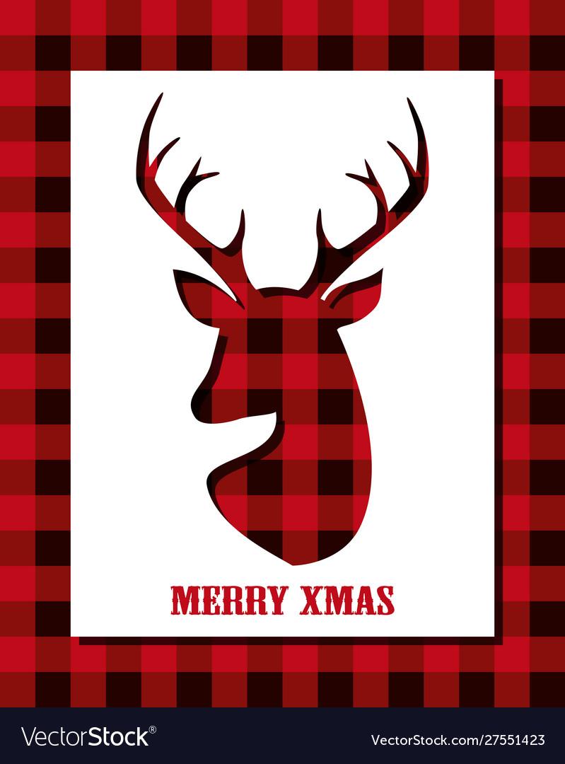 Christmas card with reindeer head on buffalo plaid