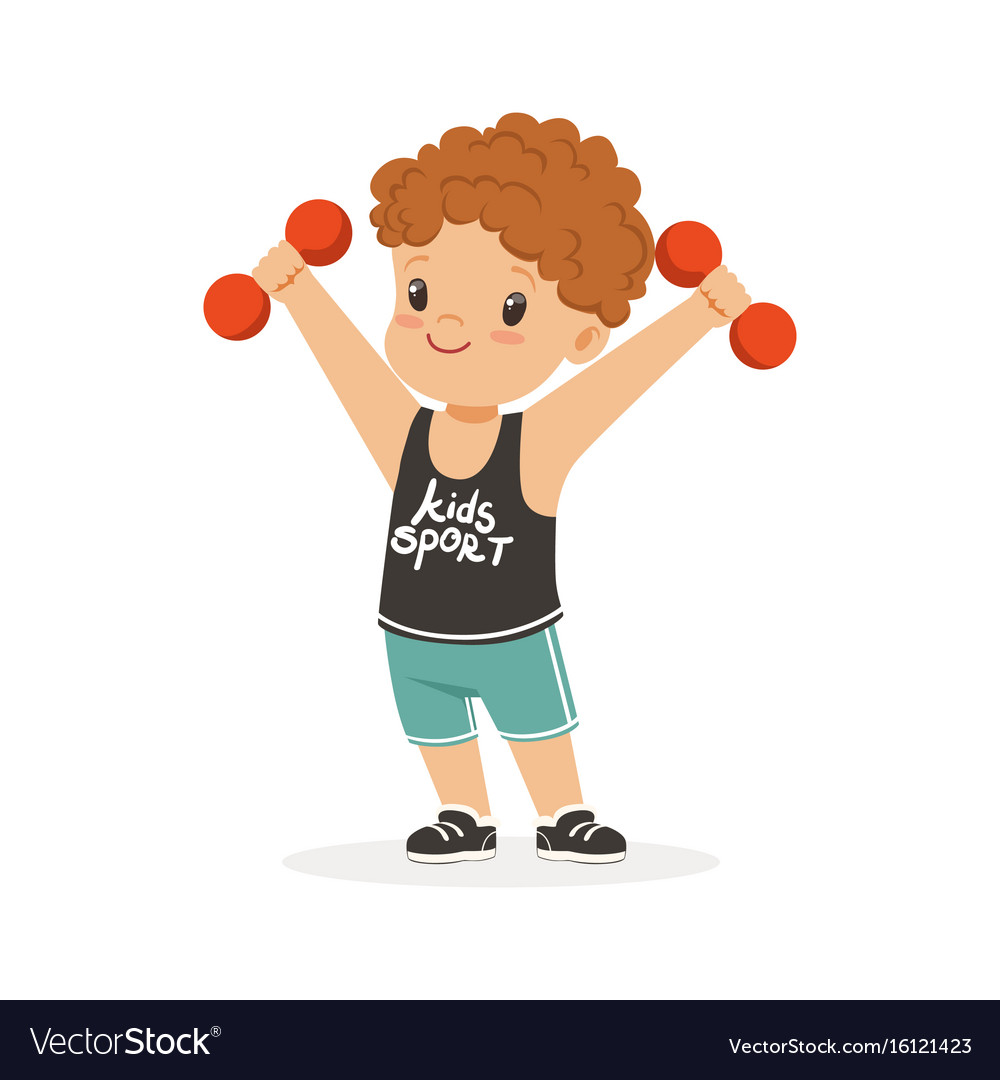 Curly Boy Exercising With Dumbbells Kid Doing Vector Image