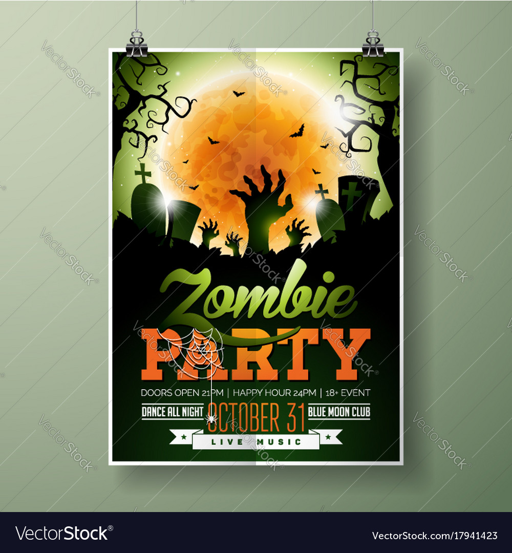 Halloween zombie party flyer