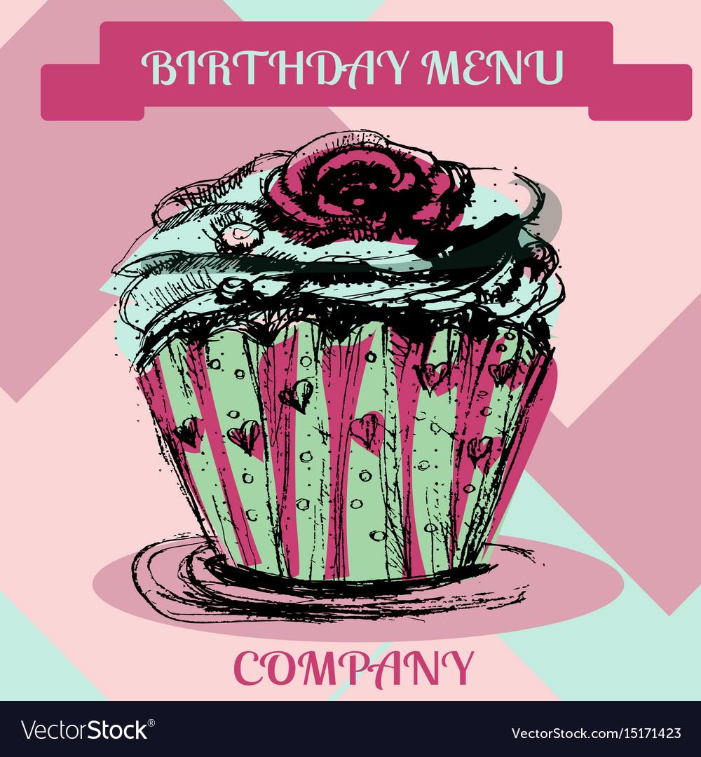 Happy birthday cupcakemenu cover