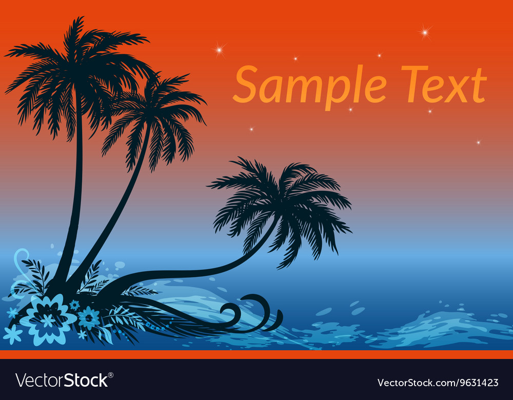 Landscape Palms Flowers and Night Sea vector image