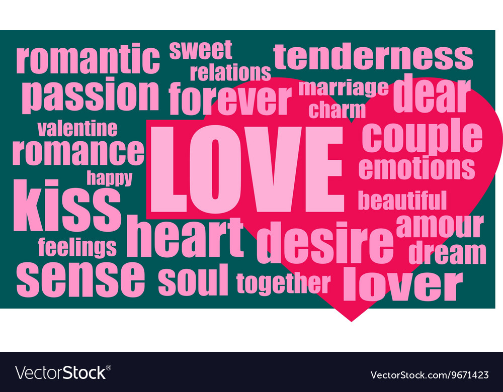 Love words cloud with heart icon vector image