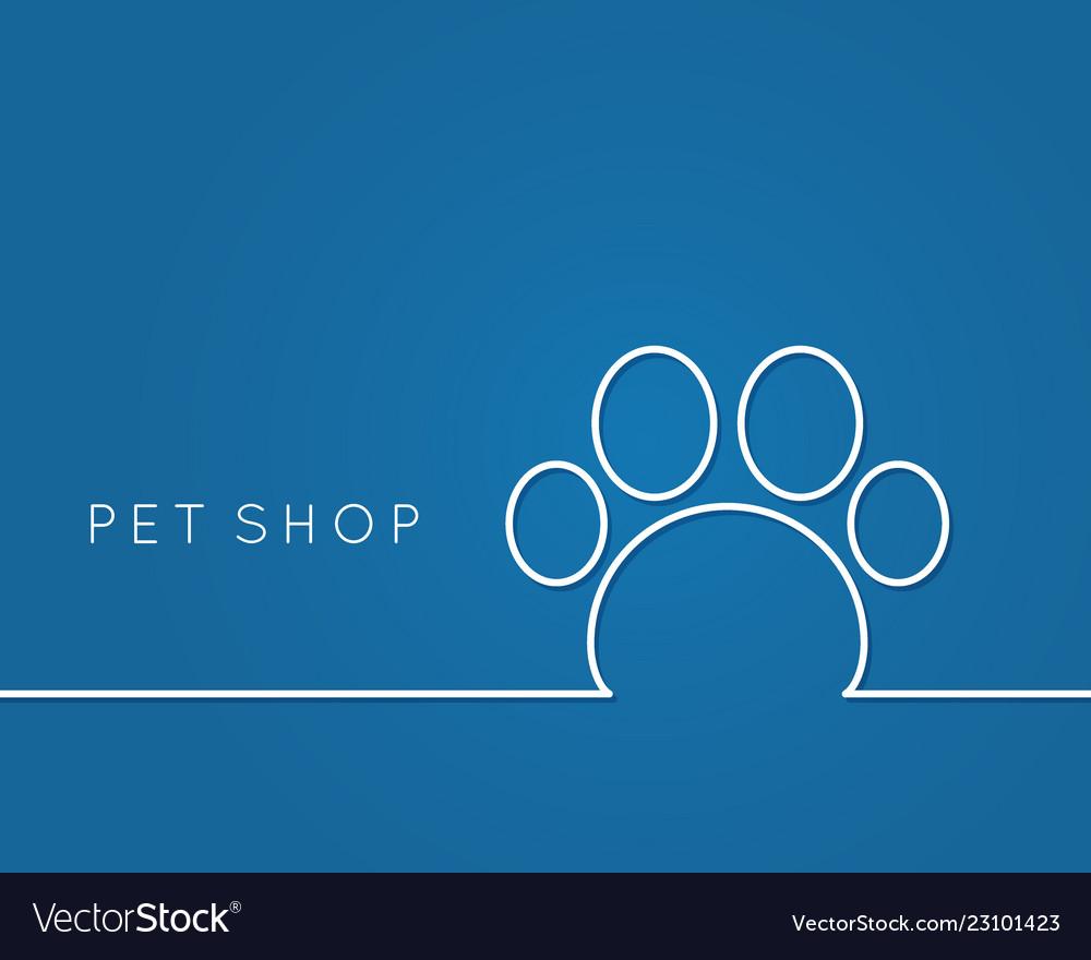 Pet shop linear pet paw on blue background