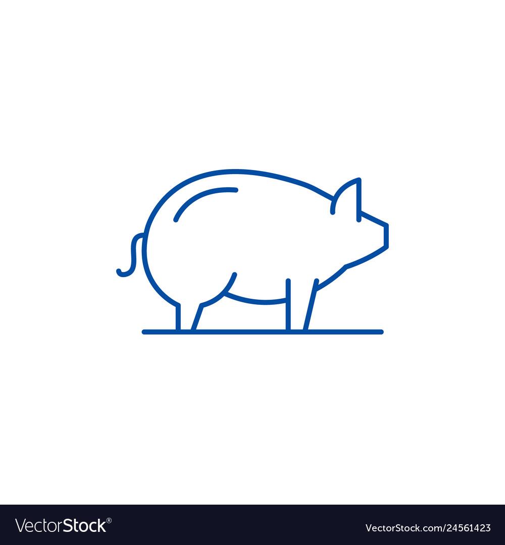 Pig line icon concept pig flat symbol