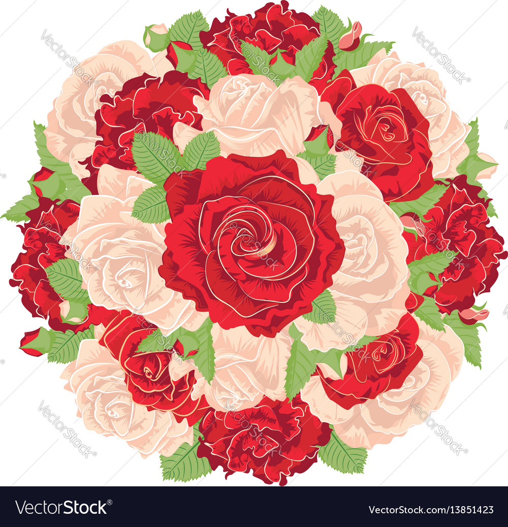 Round bunch of roses royalty free vector image round bunch of roses vector image izmirmasajfo