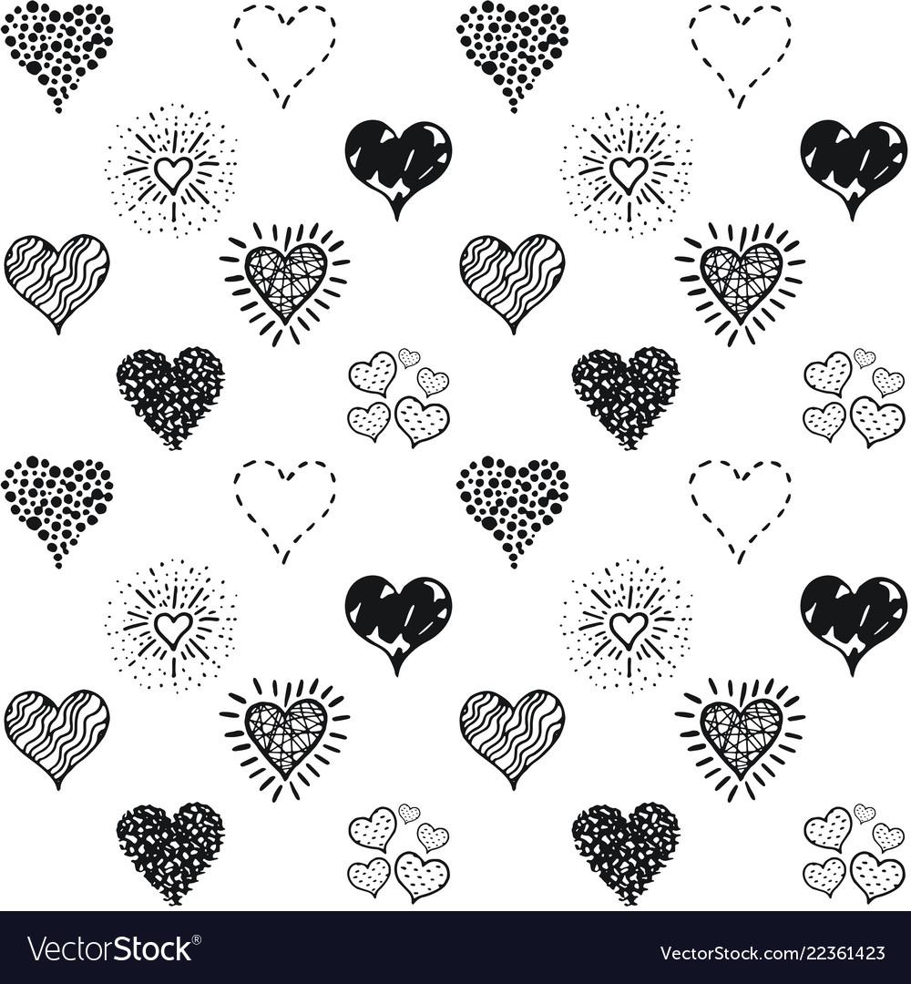 Seamless hearts pattern hand drawn sketch
