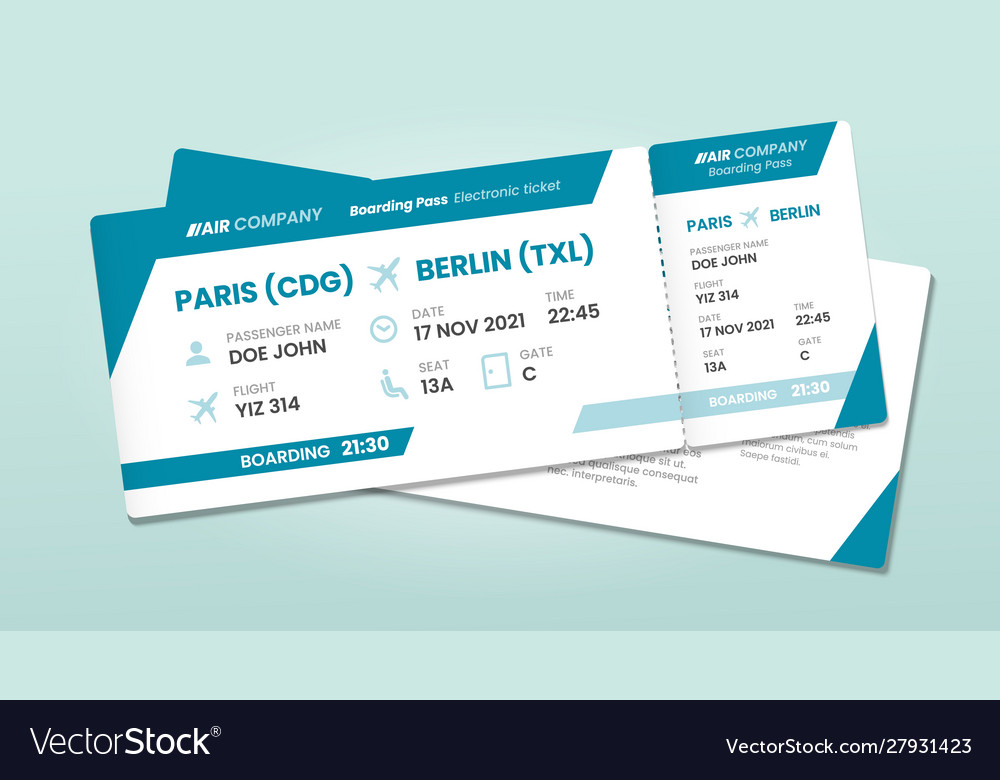 Two airline tickets airplane boarding ticket with