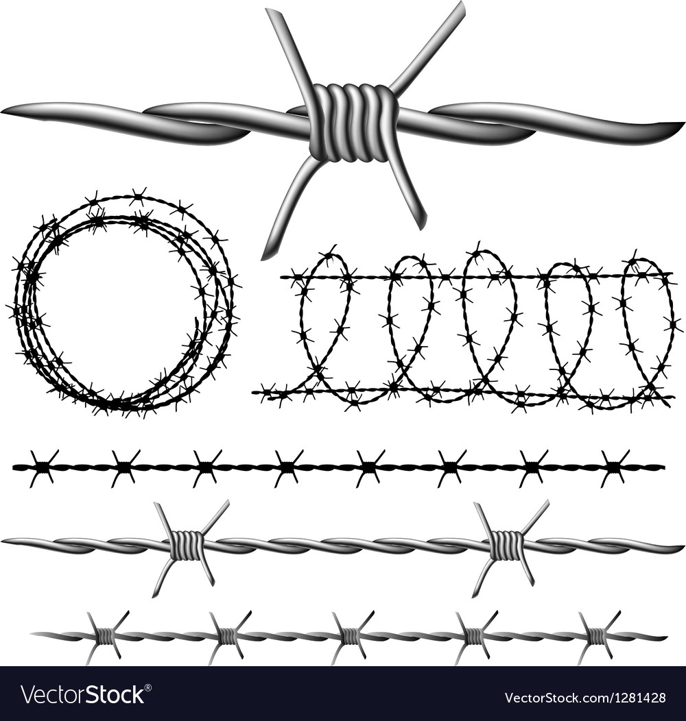 Barbed wire set Royalty Free Vector Image - VectorStock