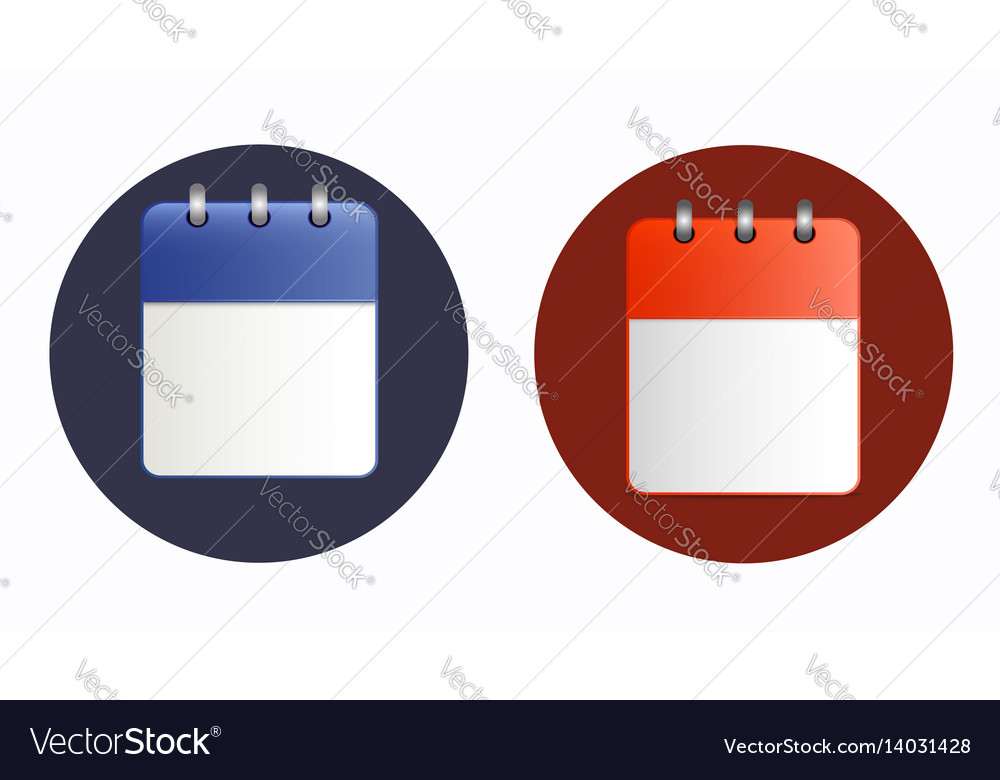 Blank sheet of calendar icon in two variants vector image