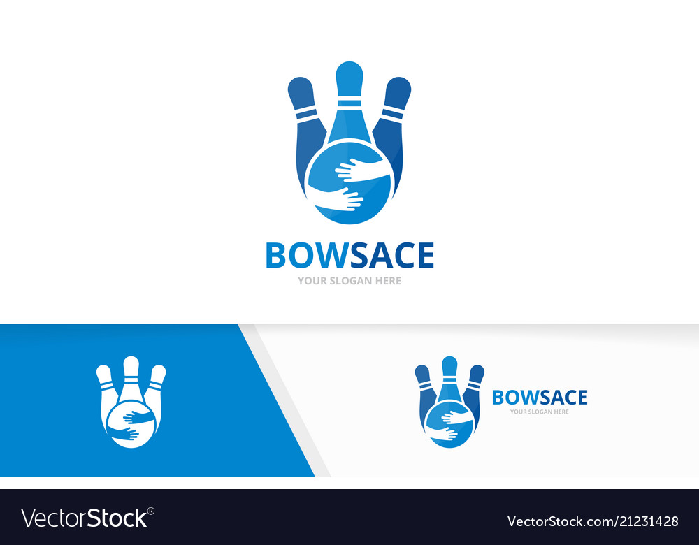Bowling and hands logo combination game