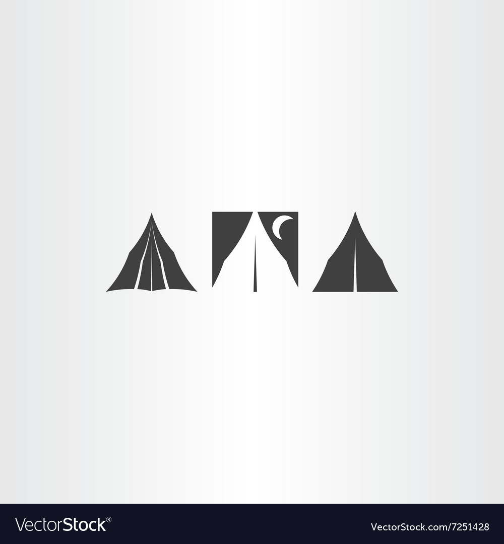 Camping tent icons set design