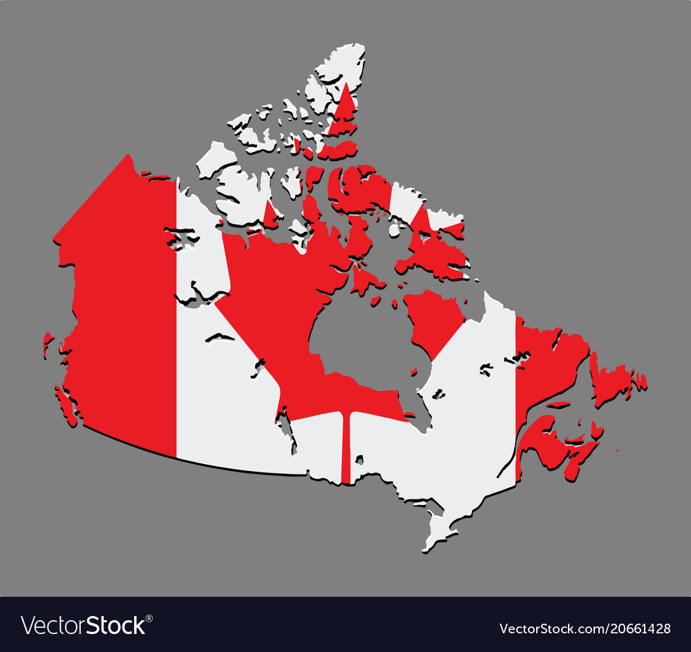 Canada Map Flag.Canada Map With The Canadian Flag Royalty Free Vector Image