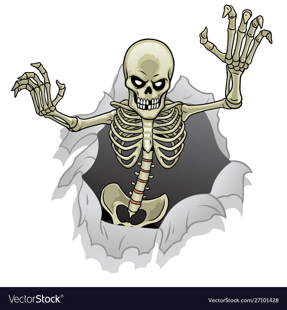 Cartoon skeleton character out from broken