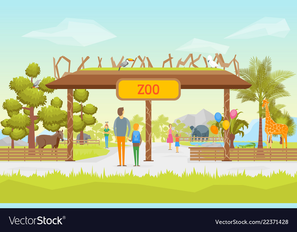 Cartoon zoo entrance panorama background card