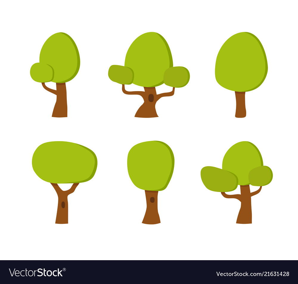 Collection of cartoon trees park element