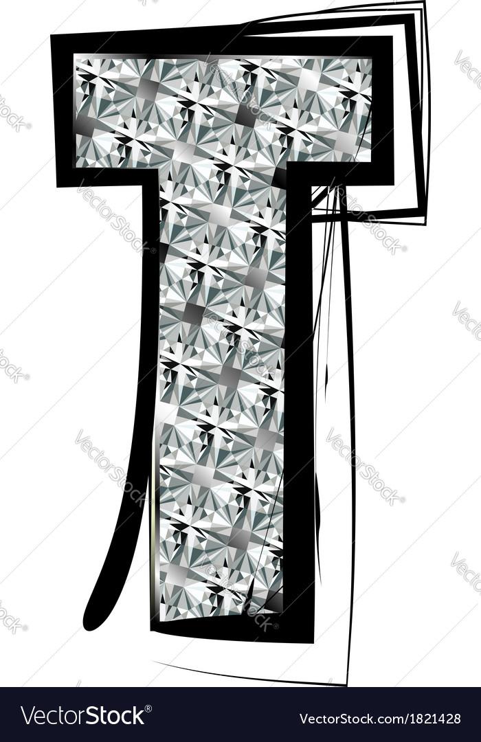 Diamond Font letter T vector image