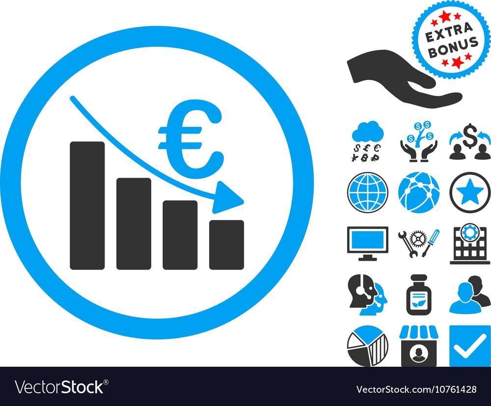 Euro Recession Flat Icon With Bonus