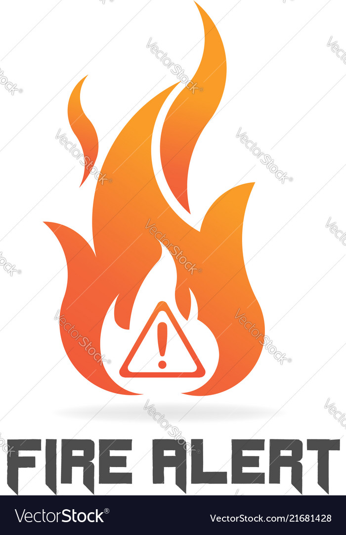 Fire flame with danger sign logo symbol