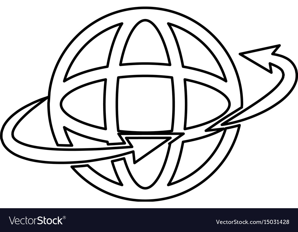 Global around connection internet web icon outline
